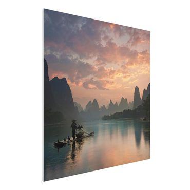 Quadro in forex - Alba sul fiume cinese - Quadrato 1:1