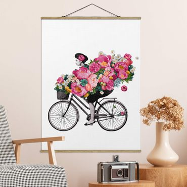 Foto su tessuto da parete con bastone - Laura Graves - Illustrazione Donna in bicicletta Collage fiori variopinti - Verticale 4:3