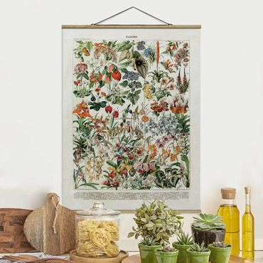 Foto su tessuto da parete con bastone - Vintage Consiglio Flowers III - Verticale 4:3