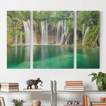 Stampa su tela 3 parti - Waterfall Plitvice Lakes - Trittico