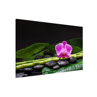 Lavagna magnetica - Green Bamboo Con L'orchidea Blossom - Formato orizzontale 3:2