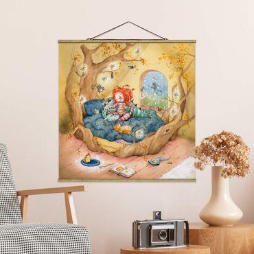 Foto su tessuto da parete con bastone - Frida coccole con il suo amici - Quadrato 1:1