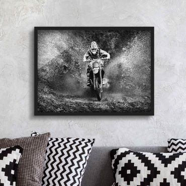 Poster con cornice - Motocross In The Mud - Orizzontale 3:4