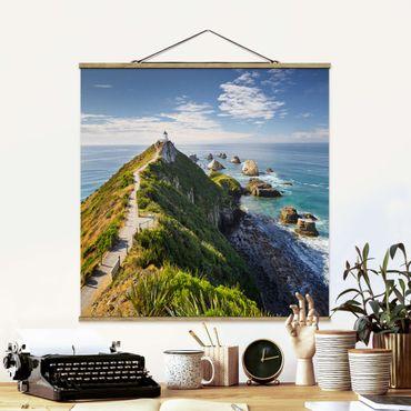 Foto su tessuto da parete con bastone - Nugget Point Lighthouse e Sea Zelanda - Quadrato 1:1