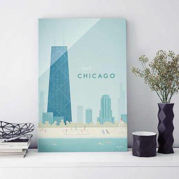 Quadro in vetro - Poster viaggio - Chicago - Verticale 3:2