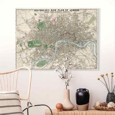 Stampa su tela - Vintage Mappa Londra - Orizzontale 3:4