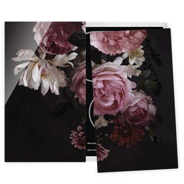 Coprifornelli in vetro - Pink Flowers On Black - 52x60cm