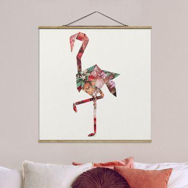Foto su tessuto da parete con bastone - origami Flamingo - Quadrato 1:1