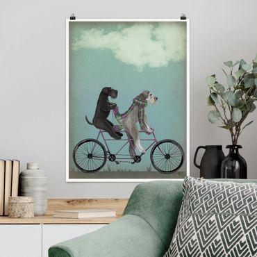 Poster - In bicicletta - Schnauzer Tandem - Verticale 4:3