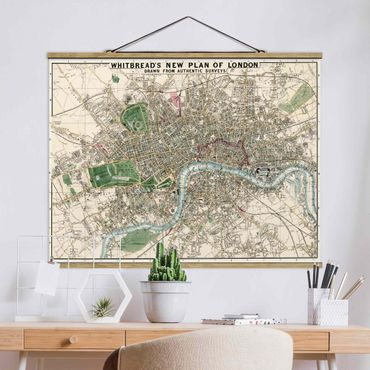 Foto su tessuto da parete con bastone - Vintage Mappa Londra - Orizzontale 3:4