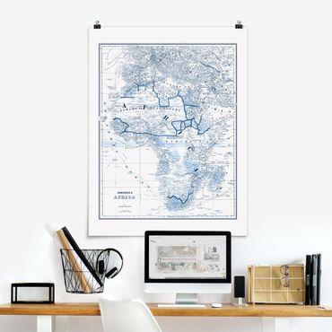 Poster - Mappa nei toni blu - Africa - Verticale 4:3