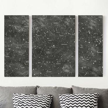 Stampa su tela 3 parti - Constellation map panel optics - Trittico