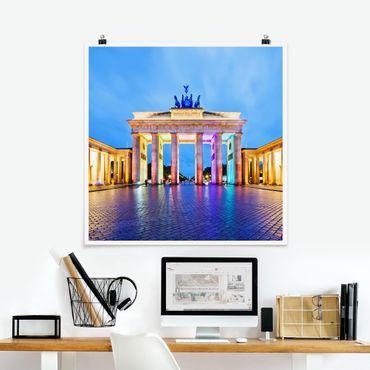 Poster - Illuminato Porta di Brandeburgo - Quadrato 1:1