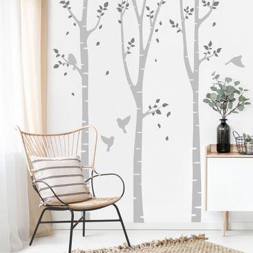 Adesivo murale - Birch fogli foresta uccelli grigi