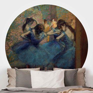 Carta da parati rotonda autoadesiva - Edgar Degas - The Blue Dancers
