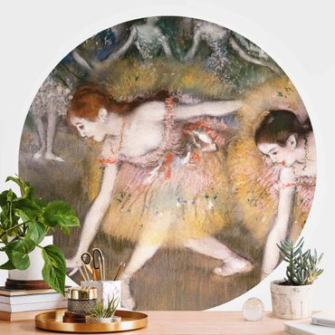 Carta da parati rotonda autoadesiva - Edgar Degas - ballerine inchinandosi
