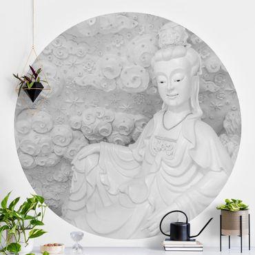 Carta da parati rotonda autoadesiva - statua nobile Buddha in bianco e nero