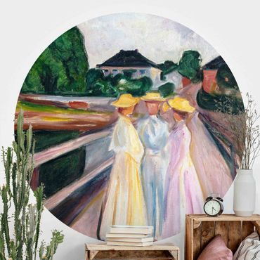 Carta da parati rotonda autoadesiva - Edvard Munch - Tre ragazze