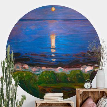 Carta da parati rotonda autoadesiva - Edvard Munch - Notte d'estate sulla spiaggia del mare