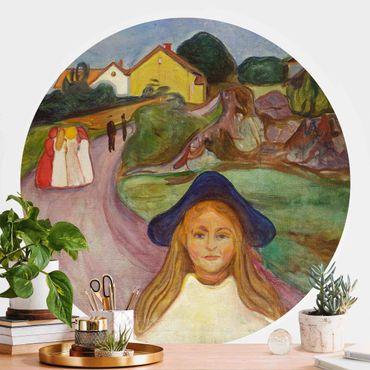 Carta da parati rotonda autoadesiva - Edvard Munch - Notte Bianca