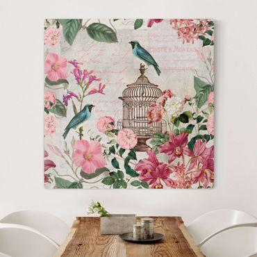 Stampa su tela - Shabby Chic Collage - Fiori rosa e Bluebirds - Quadrato 1:1