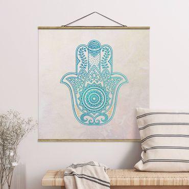 Foto su tessuto da parete con bastone - Illustrazione Hamsa mano Mandala Oro Blu - Quadrato 1:1