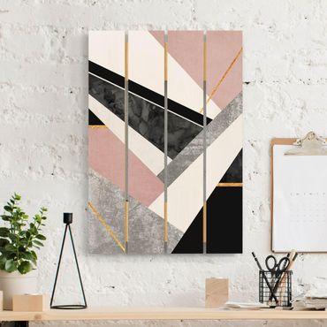 Stampa su legno - Elisabeth Fredriksson - Bianco e nero Geometria con oro - Verticale 3:2