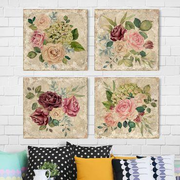 Stampa su tela - Vintage Roses And Hydrangeas