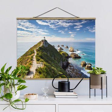 Foto su tessuto da parete con bastone - Nugget Point Lighthouse e Sea Nuova Zelanda - Orizzontale 3:4