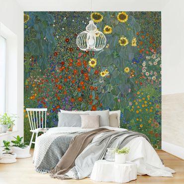 Carta da parati adesiva - Gustav Klimt - Giardino Girasoli- Formato quadrato