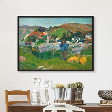 Poster con cornice - Paul Gauguin - The Swineherd - Orizzontale 3:4