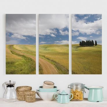 Stampa su tela 3 parti - Cypress Trees In Tuscany - Verticale 2:1