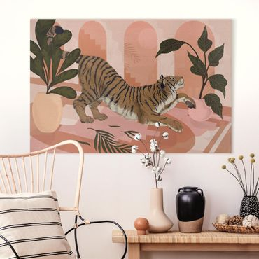 Quadri su tela - Illustrazione Tiger in rosa pittura Pastello
