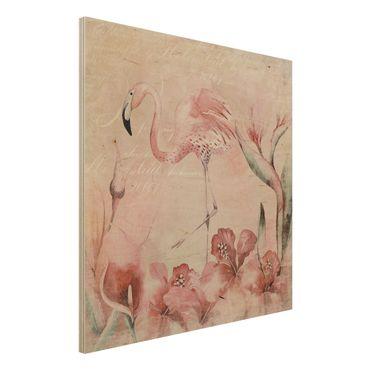 Stampa su legno - Shabby Chic Collage - Flamingo - Quadrato 1:1