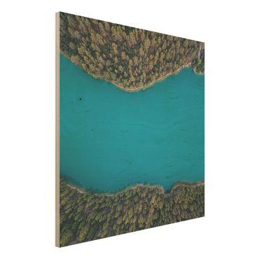 Quadro in legno - Veduta aerea - Deep Blue Sea - Quadrato 1:1