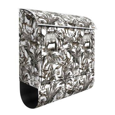 Cassetta postale - Elefanti giraffe zebre e tigri in bianco e nero con tonalità marrone