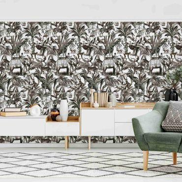 Carta da parati - Elefanti giraffe zebre e tigri in bianco e nero con tonalità marrone
