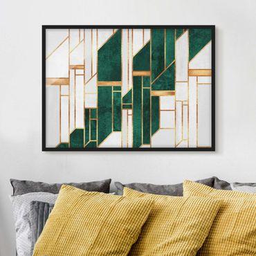 Poster con cornice - Geometria smeraldo e oro