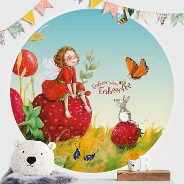 Carta da parati rotonda autoadesiva - Strawberry coniglio Erdbeerfee - Enchanting