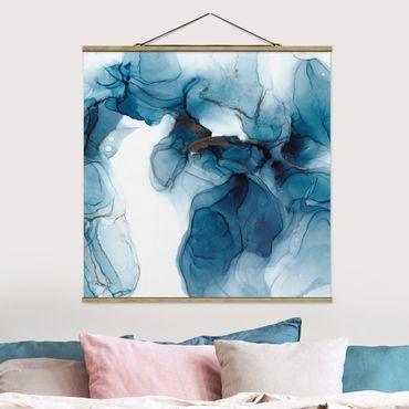 Foto su tessuto da parete con bastone - Evoluzione blu e oro - Quadrato 1:1