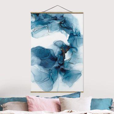 Foto su tessuto da parete con bastone - Evoluzione blu e oro - Verticale 2:3
