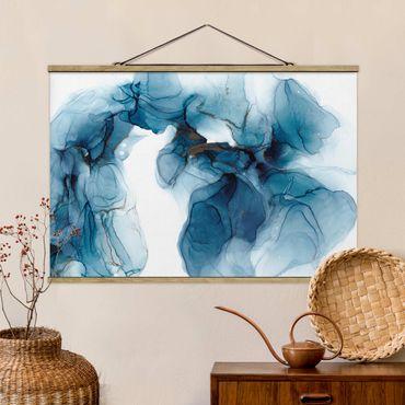 Foto su tessuto da parete con bastone - Evoluzione blu e oro - Orizzontale 3:2