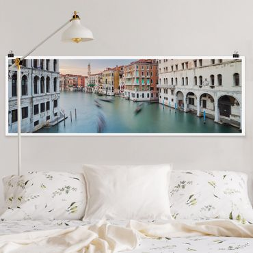Poster - Vista Canal Grande dal Ponte di Rialto di Venezia - Panorama formato orizzontale