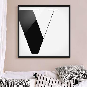 Poster con cornice - Antiqua Letter V - Quadrato 1:1