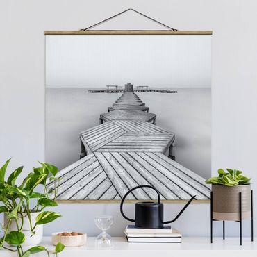Foto su tessuto da parete con bastone - Legno Pier Bianco e nero - Quadrato 1:1