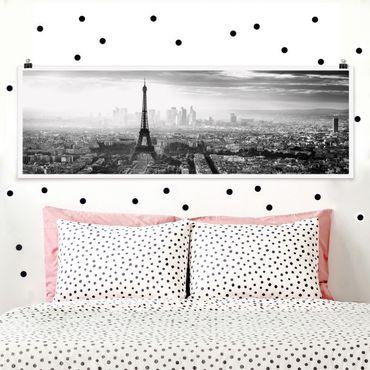 Poster - La Torre Eiffel Dalla Parte Superiore In Bianco e nero - Panorama formato orizzontale