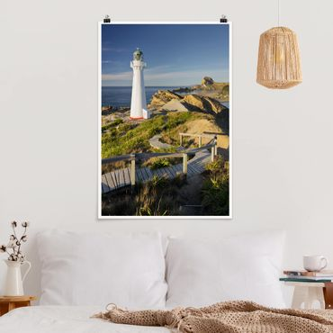 Poster - Castle Point Lighthouse Nuova Zelanda - Verticale 3:2
