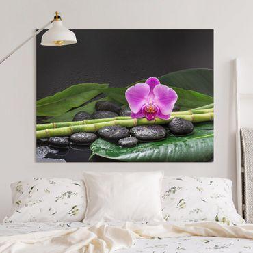 Stampa su tela - Green Bamboo Con L'orchidea Blossom - Orizzontale 3:4
