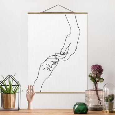 Foto su tessuto da parete con bastone - Linea Mani d'arte Toccando Bianco e nero - Verticale 4:3