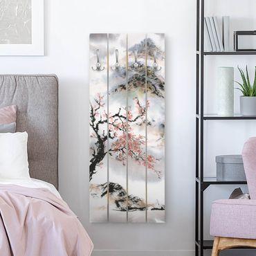 Appendiabiti in legno - Giapponese disegno ad acquerello Ciliegio E Montagne - Ganci cromati - Verticale
